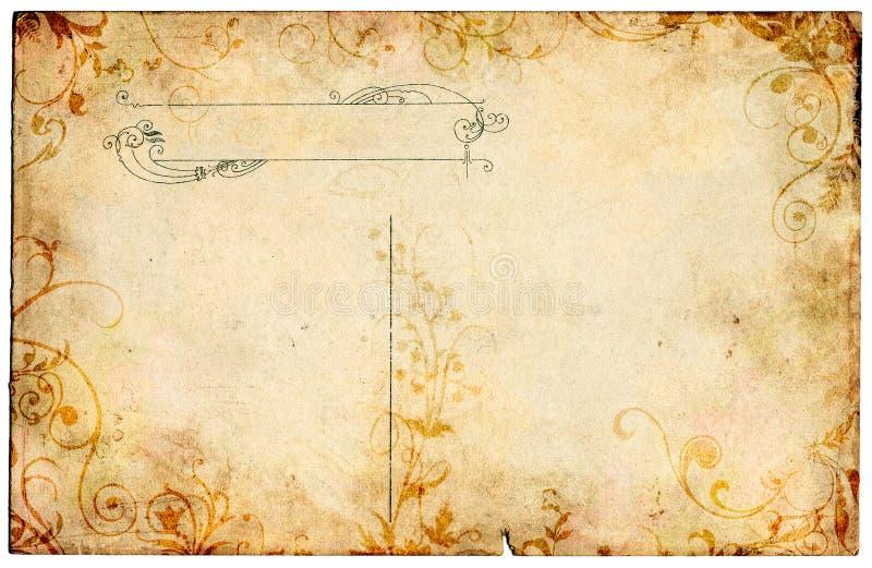 Old Floral Postcard royalty free illustration