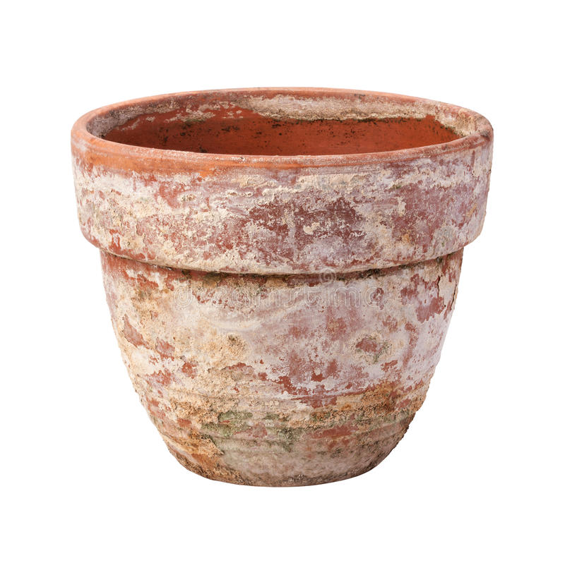 Old Flowerpot Isolated On White Royalty Free Stock Photos