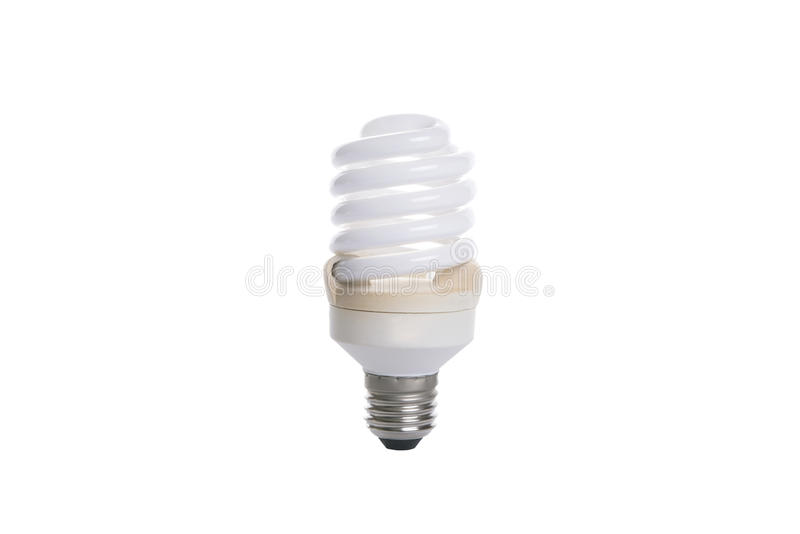 Old fluorescent spiral light bulb. Old fluorescent spiral light bulb isolated on white background stock image