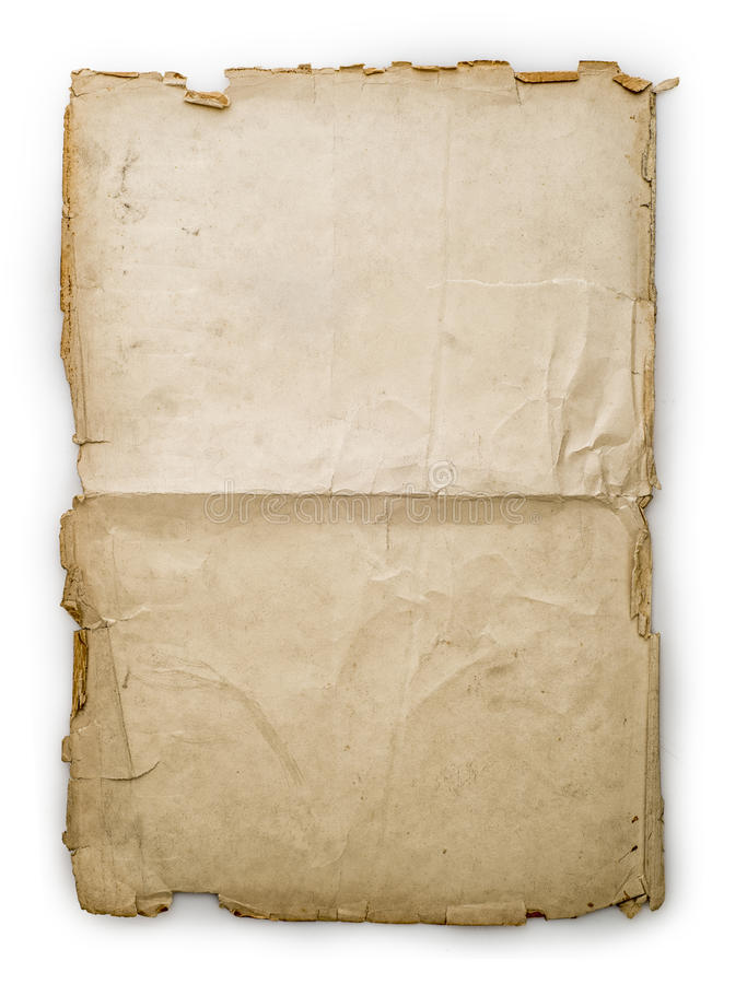 Old folded vintage paper sheet. Isolated on white stock photo