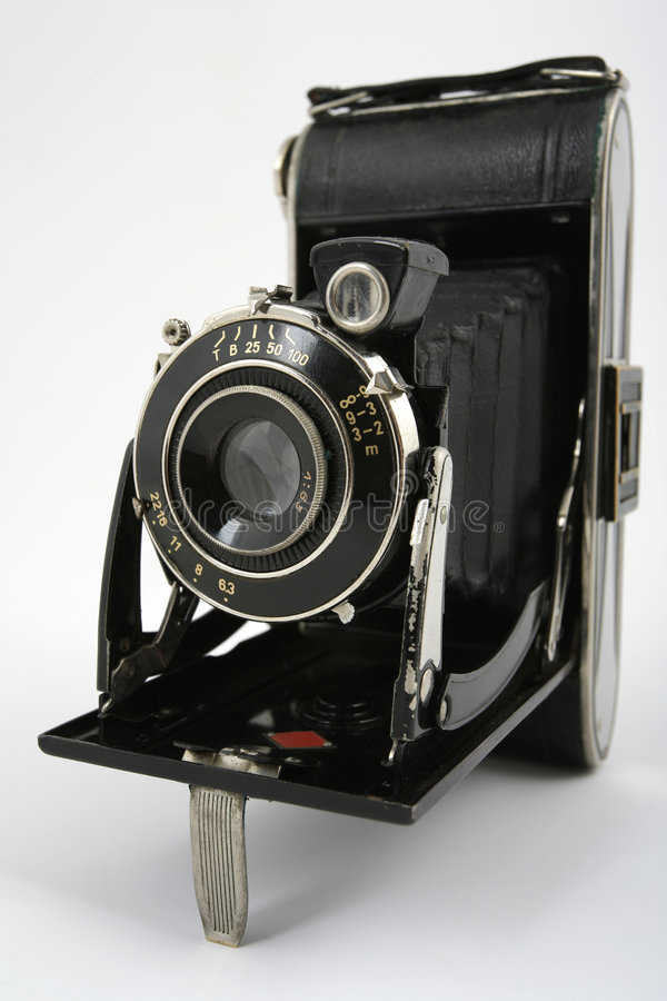 Old folding photo camera stock photos