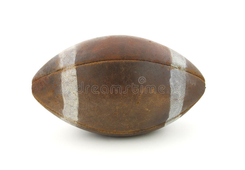Old football. View of an old regulation size football against a white background royalty free stock images