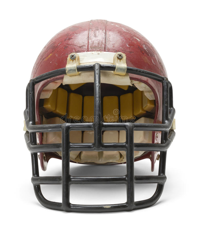 Old Football Helmet. Front View of Old Football Helmet Isolated on White Background royalty free stock image