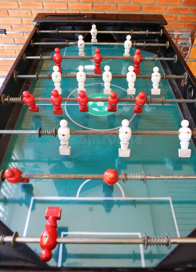 Old football table, soccer table.  royalty free stock photos