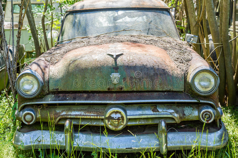 Old Ford in Junkyard stock photos