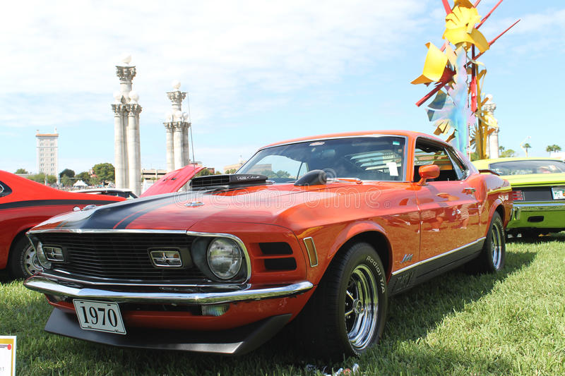 old ford mustang mach 1 car at the car show editorial stock image image 35218579. Black Bedroom Furniture Sets. Home Design Ideas