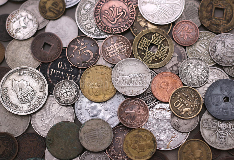 Old Foreign Coin Collection stock image