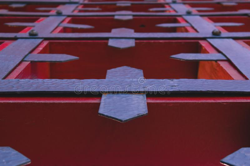 Old forged gates, close up. royalty free stock photo