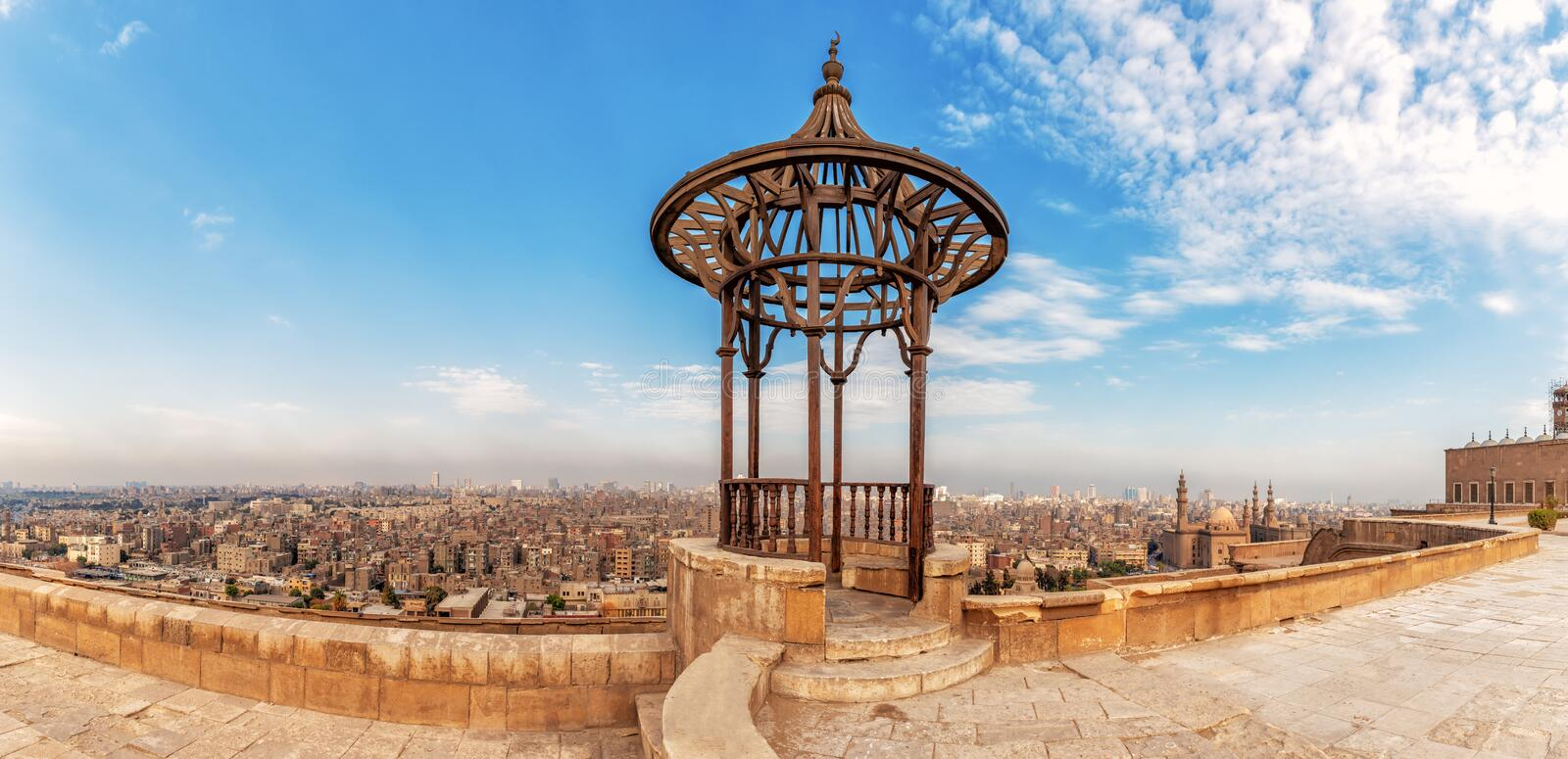Old forged pavilion in the panorama of Cairo, view of the Citadel. Ali, ancient, arabic, architecture, attraction, beautiful, church, city, culture, dome stock photography