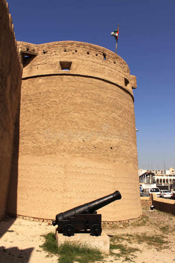 Free Old Fort And A Antique Cannon Outside Dubai Museum Stock Photography - 13095982