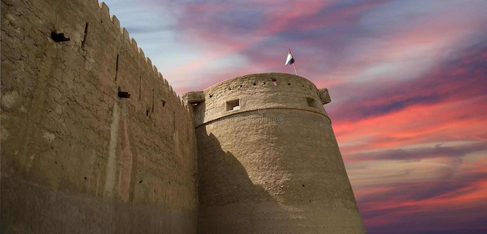 Old Fort. Dubai, United Arab Emirates (UAE). This castle/fort is the oldest building still standing in Dubai (United Arab Emerites) which is now part of the royalty free stock photo