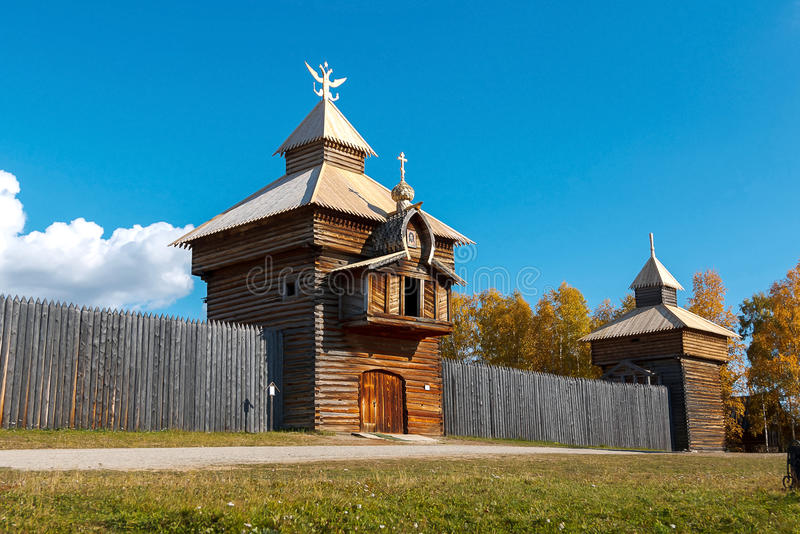Old fort Ilim. In Irkutsk museum Talci royalty free stock images