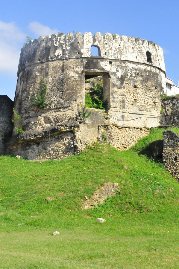 The Old Fort. (Swahili: Ngome Kongwe), also known as the Arab Fort and by other names, is a fortification located in Stone Town, the capital of Zanzibar royalty free stock image