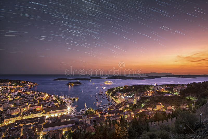 Day turns to night in Hvar stock photography