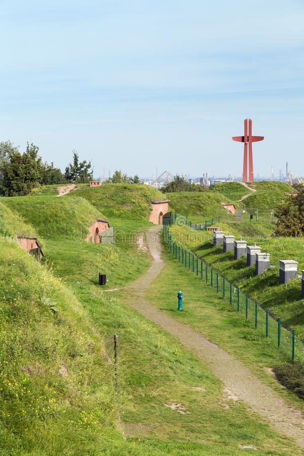 Old fortifications and Millennium Cross in Gdansk royalty free stock photography