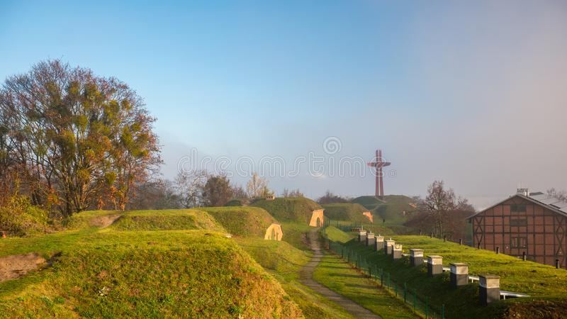 Old fortifications and Millennium Cross monument on the Gradowa Hill in Gdansk, Poland. royalty free stock photo