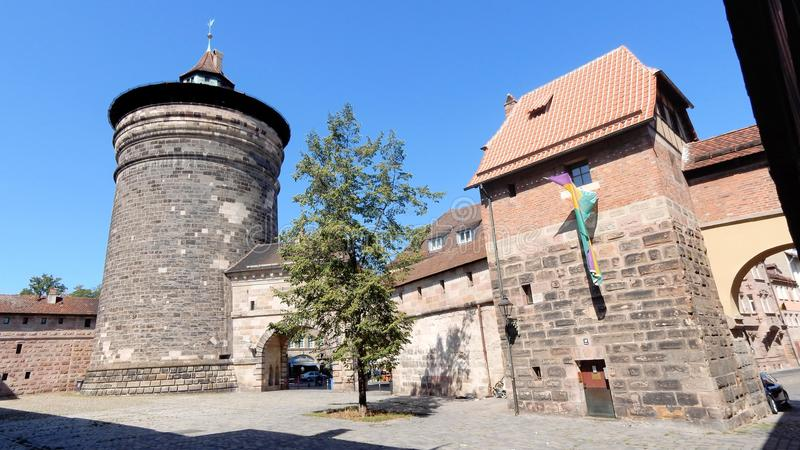Old fortifications of Nuremberg with towers, gates, Germany. Nuremberg - ancient monumental fortress walls with towers, gates, Nürnberg - German state of royalty free stock photo