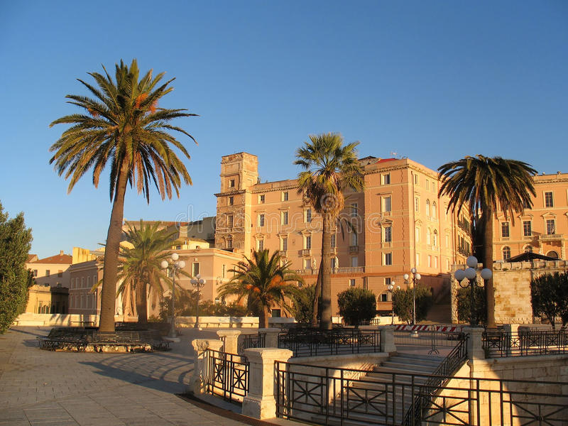 Old fortress Bastione San Remy, in Cagliari, Sardinia, Italy royalty free stock image
