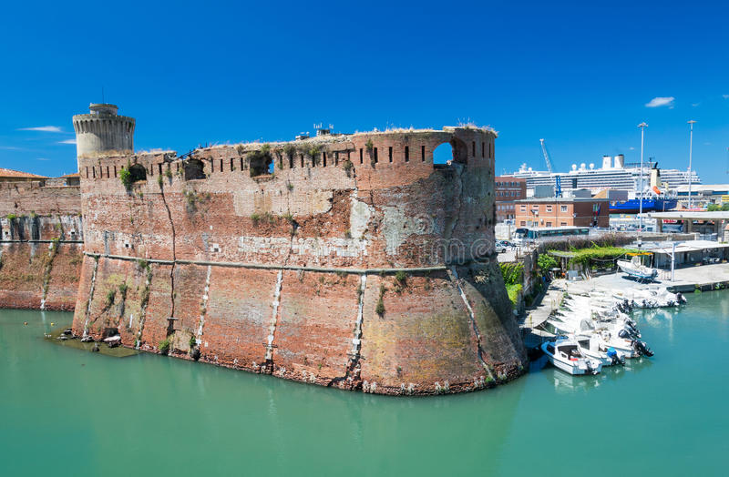 The old fortress Fortezza Nuova in Livorno, Tuscany, Italy, surrounded by a navigable moat, It was built to defend the city from. Attack by pirates stock photo