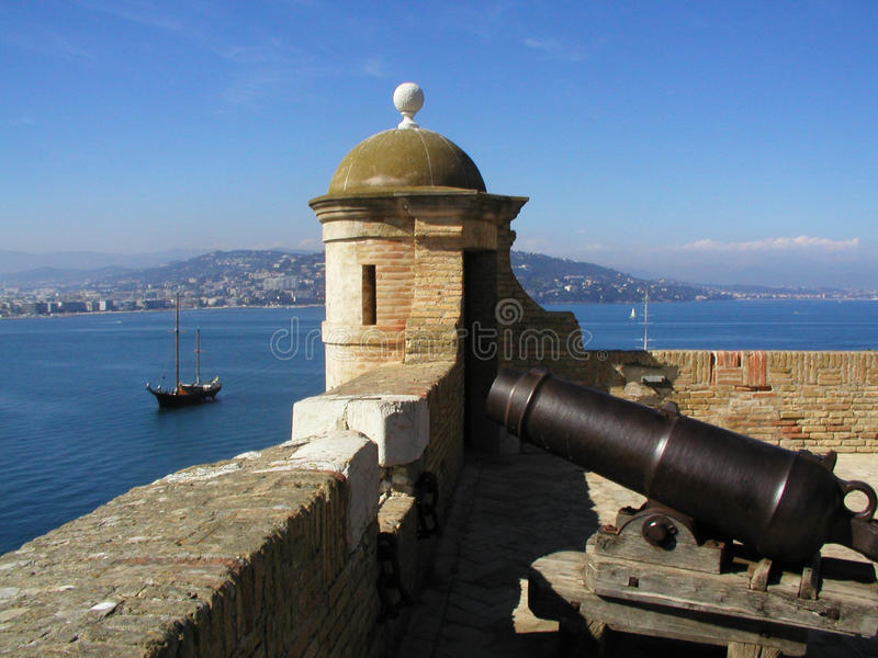 Old fortress in the Ils Lerins in Cannes royalty free stock photography