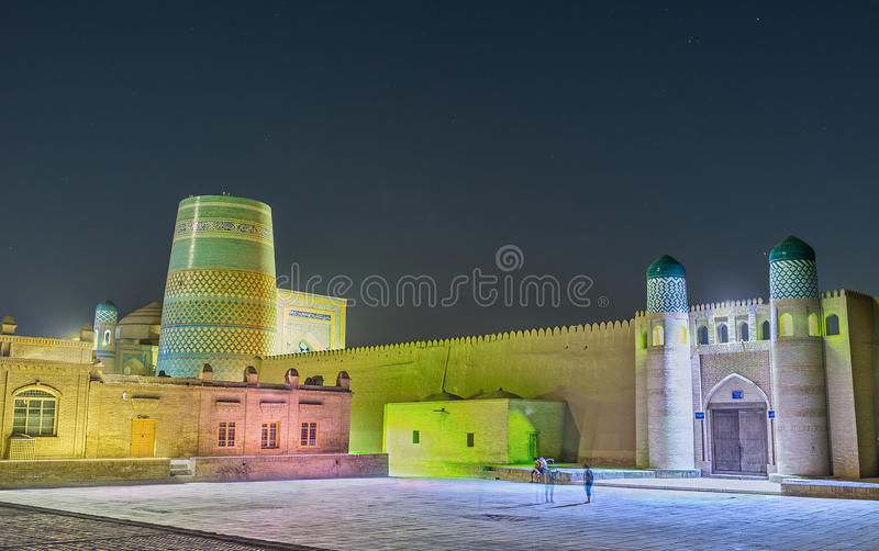 The old fortress. KHIVA, UZBEKISTAN, MAY 3, 2015: The night view of the Kunya-Ark (Old Fortress), the inner citadel in medieval town, on May 3 in Khiva royalty free stock images