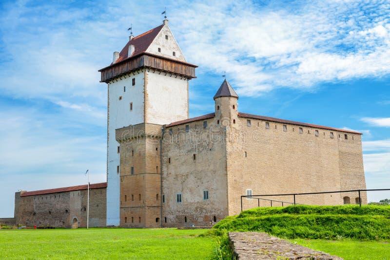 Old fortress. Narva, Estonia, EU. Hermann castle of the Order of Teutonic Knights. Narva, Estonia, Baltic States, Europe stock image