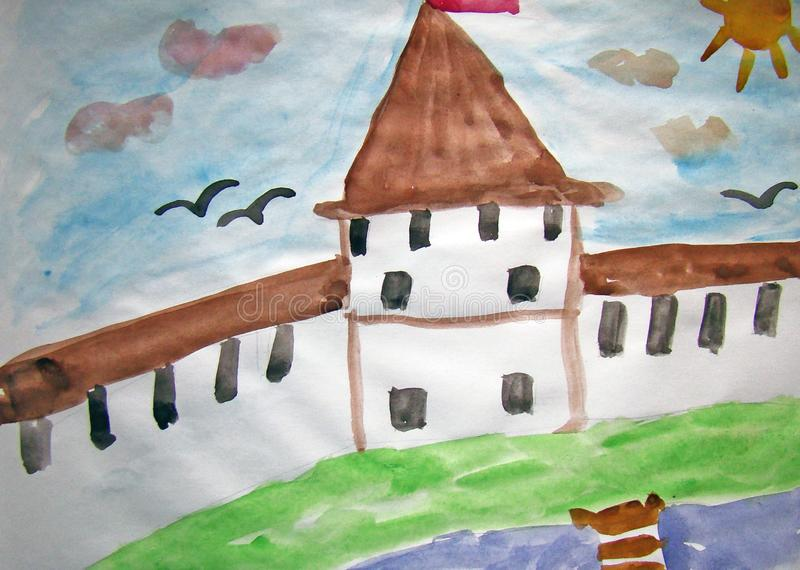 Old fortress painted by child. Watercolor painting of an old fortress on a river bank. Made by child stock illustration