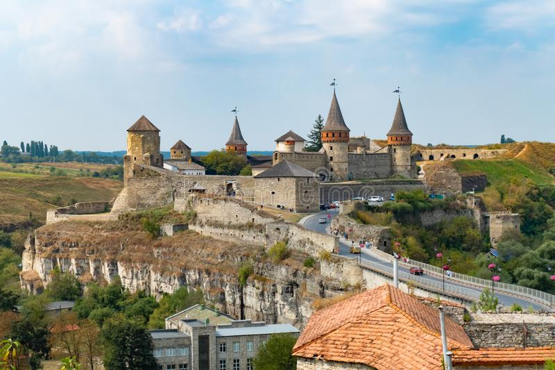 Medieval fortification. Old fortress with towers and fortified walls stock photos