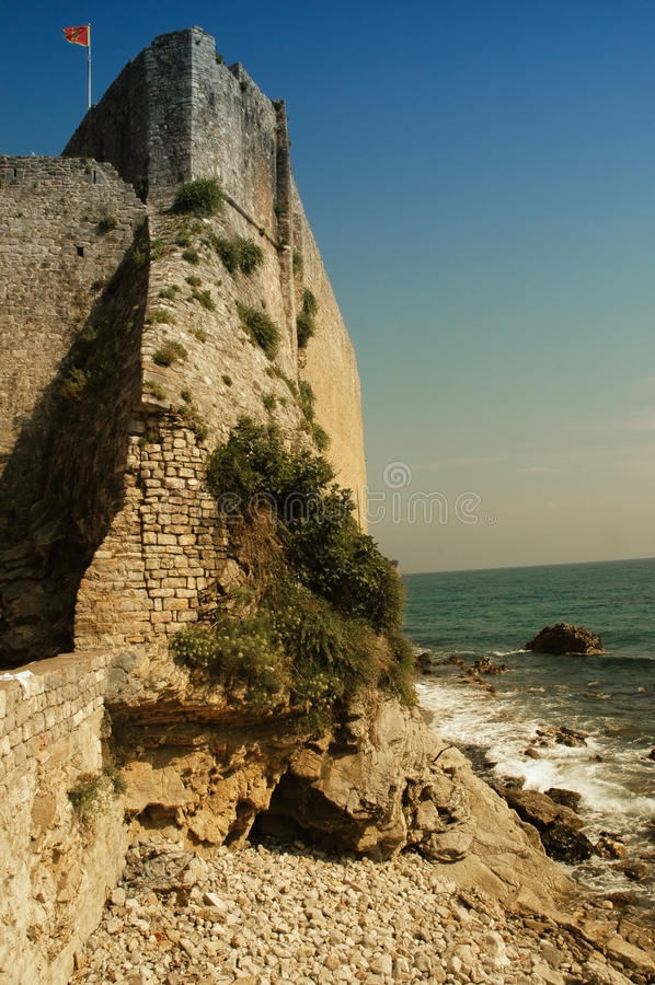The old fortress wall of Budva. Montenegro stock photography