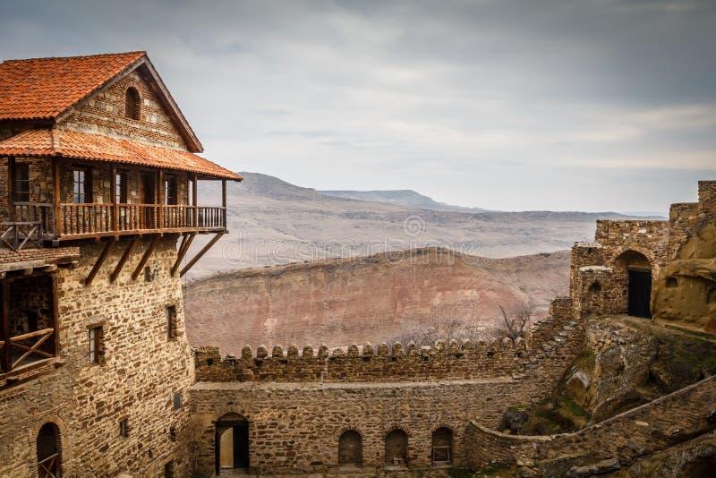Old fortress walls with merlons, David Goreja monastery ortodox. Complex, Kakheti, Georgia royalty free stock images