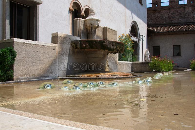 Old fountain in the courtyard royalty free stock images