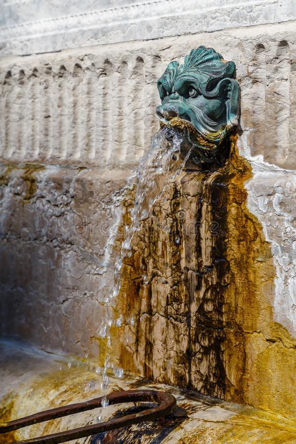 Old fountain in the historic centre of Lyon town. France royalty free stock images