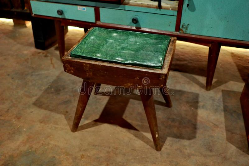 old four-legged wooden chair, small sized cloth covere royalty free stock photography