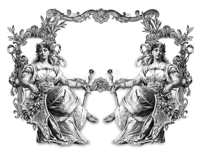 Old Frame. Old Victorian Frame and Two Woman vector illustration