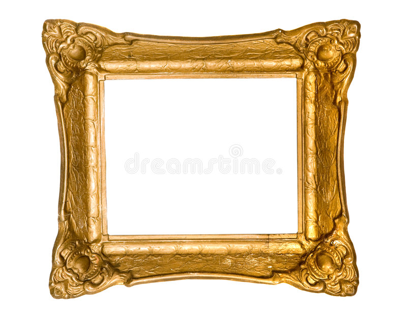 Old frame. Old gold frame on white background royalty free stock photography