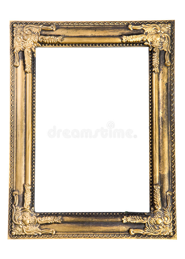 Old frame. Old gold frame on white background stock image