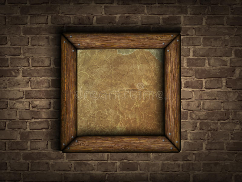 Old frame on a brick wall vector illustration