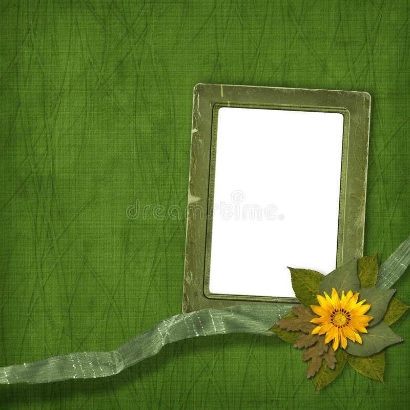 Old frame with bunch of flowers. On the abstract background stock illustration