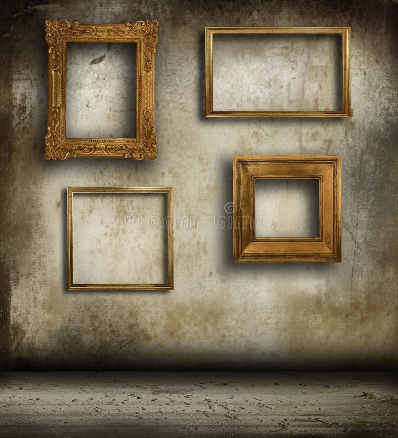 Old frames hanging on wall stock image. Image of culture - 111574567