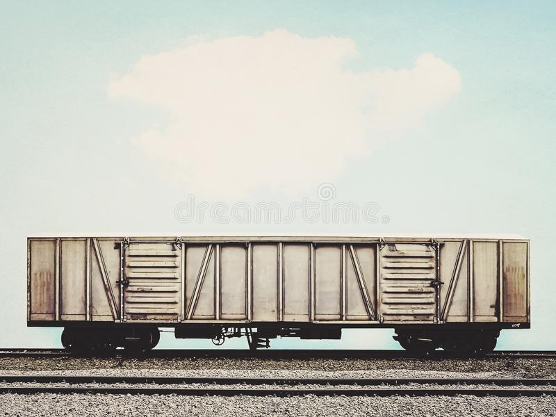 Old freight trian with cargo container stock photo