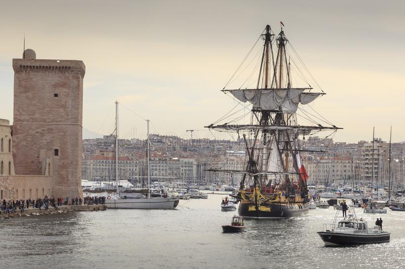 French battle ship, l`Hermione. In the old harbor of Marseille, France. Old French battle ship, l`Hermione. In the old harbor of Marseille, France royalty free stock images