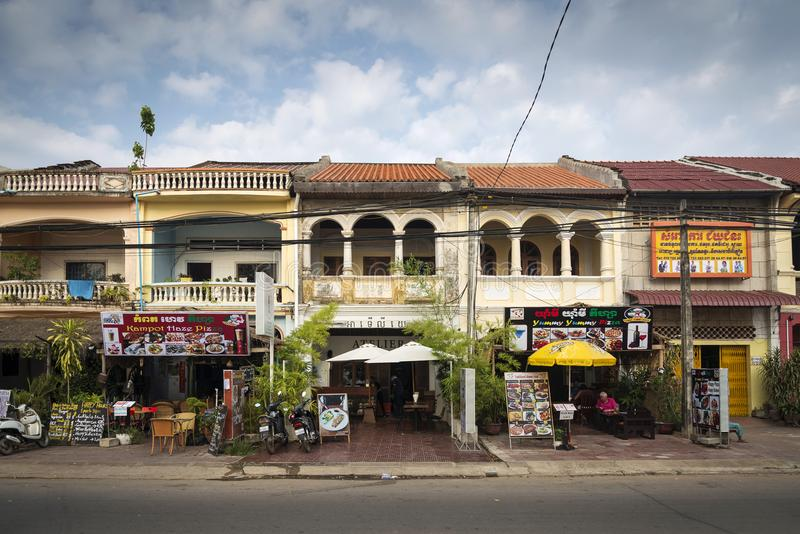 Old french colonial architecture in kampot town street cambodia. Old french colonial architecture buildings in kampot downtown street cambodia stock images
