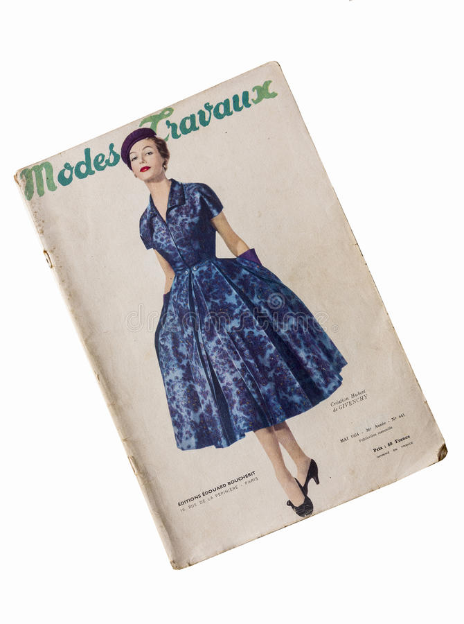 Old French fashion magazine. French fashion magazine started publication in 1919 with name La Broderie moderne et Modes&Travaux . Publisher was Edouard Boucherit stock image