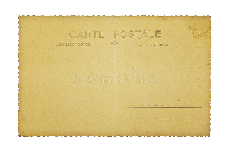 Download Old French Postcard, Isolated On White Stock Image - Image: 26323949