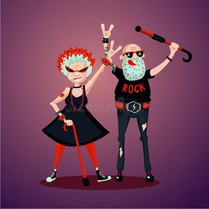Old friedns. Senior adult couple. Rock fans. Humor illustration, cartoon characters vector illustration