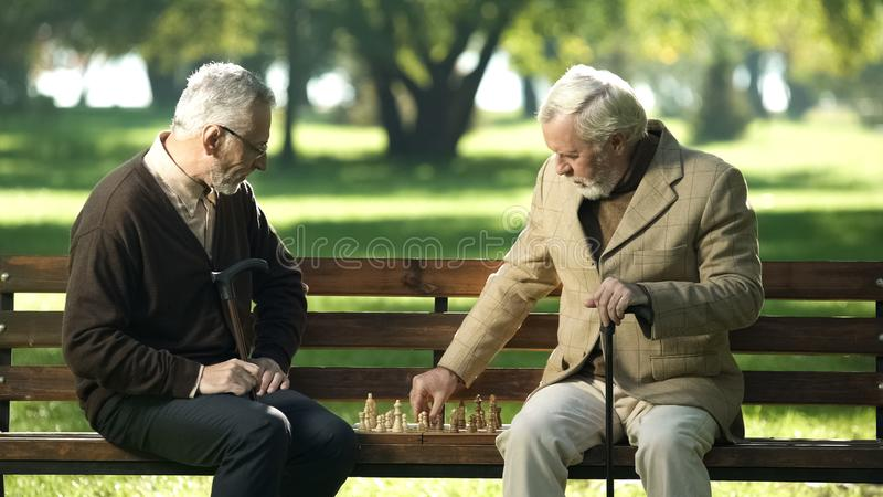 Old friends sitting on bench in park and playing chess, happy leisure time stock photo