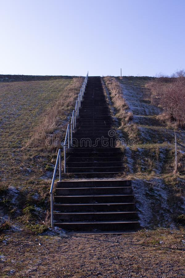 Colds,frozen stairs in Germany. Old, frozen stairs in Germany royalty free stock image