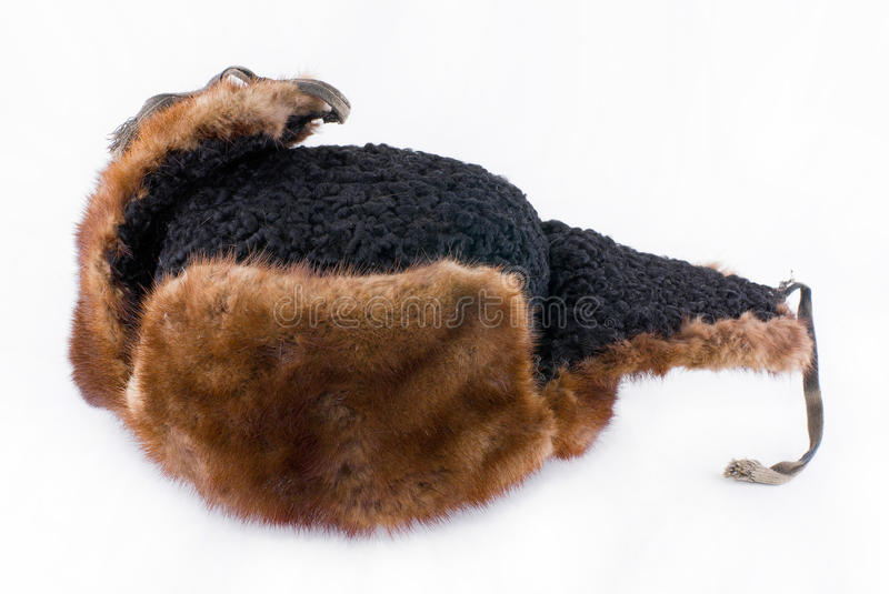 An old fur-cap. Made from mink and astrakhan royalty free stock image