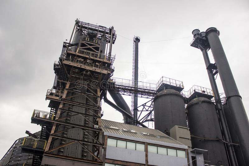 Old furnace of a foundry industry complex. stock image