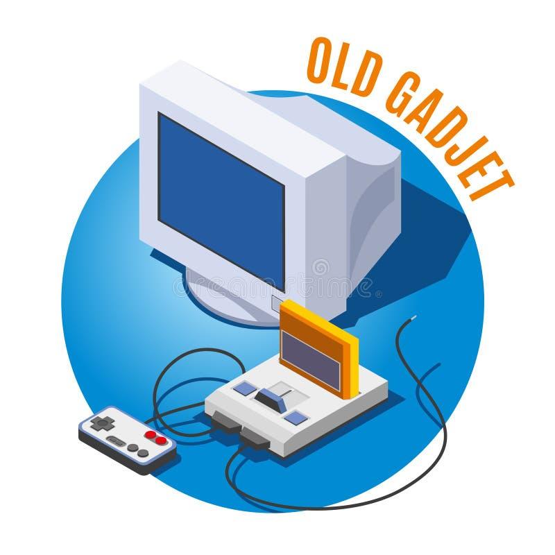 Old Gadgets Isometric Illustration royalty free illustration
